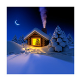 Little House In The Woods On New Year'S Night Posters by  Antartis