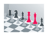 Chess Figures In Gray With Red King And Queen Print by Elizabeta Lexa