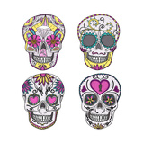 Mexican Skull Set. Colorful Skulls With Flower And Heart Ornamens. Sugar Skulls Premium Giclee Print by cherry blossom girl