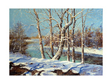 Winter Landscape On The Bank Of The River Posters by  balaikin2009