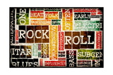 Rock And Roll Music Poster Art As Background Print by  kentoh