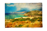 Emerald Bay - Artwork In Retro Painting Style Print by  Maugli-l