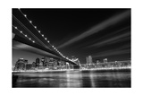 New York City, Brooklyn Bridge At Night - New York, United States - Black And White Toned Prints by  Orhan
