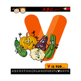Letter V With Vegetables Cartoon Illustration Prints by Igor Zakowski