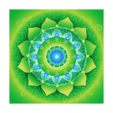 Circle, Bright Green Mandlala Of Anahata Chakra Prints by  shooarts