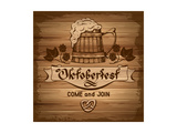 Oktoberfest, Vintage Poster With Wooden Background Prints by  Pagina