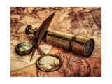 Vintage Magnifying Glass, Compass, Goose Quill Pen And Spyglass Lying On An Old Map Art by Andrey Armyagov