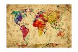 Vintage World Map Reproduction giclée Premium par PHOTOCREO Michal Bednarek