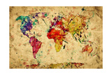 Vintage World Map Poster by PHOTOCREO Michal Bednarek