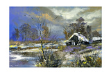 The Rural House On The Bank Of Lake In The Winter Prints by  balaikin2009