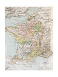 Medieval France Old Map (10th - 14th Century) Prints by  marzolino