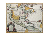 North America Old Map. Created By Louis Hennepin, Published In Amsterdam, 1698 Prints by  marzolino