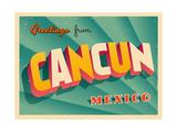 Vintage Touristic Greeting Card - Cancun, Mexico Art par Real Callahan
