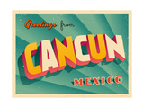 Vintage Touristic Greeting Card - Cancun, Mexico Art by Real Callahan