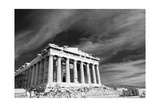 Ancient Parthenon In Acropolis Athens Greece Black And White Plakater af  SergeyAK