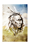 Sketch Of Tattoo Art, Indian Head Over Crop-Field Background Prints by  outsiderzone