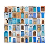 Very Old, Blue And Golden Doors Of Morocco Print by  charobna