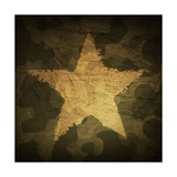 Military Camouflage Background With Grunge Star Print by  pashabo
