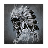Tattoo Art, Portrait Of American Indian Head Over Dark Background Premium Giclee Print by  outsiderzone