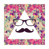 Vintage Hipster Face Geometric Pattern Posters by  cienpies