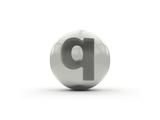 3D Alphabet, Spherical Letter Q Isolated On White Background Poster by Andriy Zholudyev