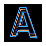 Glowing Letter A Isolated On Black Background Posters by Andriy Zholudyev