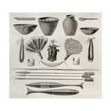 Old Illustration Of Natives Antis Pottery, Weapons And Ornaments, Peru Premium Giclee Print by  marzolino