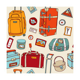Travel Seamless Background. Suitcases And Bags Art by  Katyau