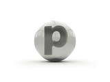 3D Alphabet, Spherical Letter P Isolated On White Background Prints by Andriy Zholudyev