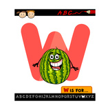 Letter W With Watermelon Cartoon Illustration Prints by Igor Zakowski