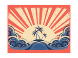 Paradise Island On Grunge Paper Background With Sun Affiches par  GeraKTV