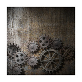 Metal Background With Rusty Gears And Cogs Plakater af  Andrey_Kuzmin