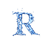 Blue Liquid Water Alphabet With Splashes And Drops - Letter R Art by  -Vladimir-