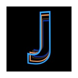 Glowing Letter J Isolated On Black Background Prints by Andriy Zholudyev