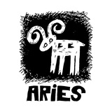 Hand Drawn Sign Of The Zodiac Aries Isolated On White Background Prints by Andriy Zholudyev