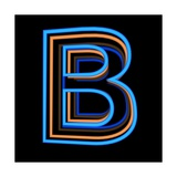 Glowing Letter B Isolated On Black Background Premium Giclee Print by Andriy Zholudyev