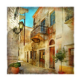 Old Pictorial Streets Of Greece - Artistic Picture Premium Giclée-tryk af  Maugli-l