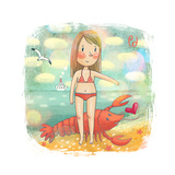 Zodiac Sign - Cancer. Part Of A Large Colorful Cartoon Calendar. Cute Girl Near The Summer Sea Posters by  smilewithjul