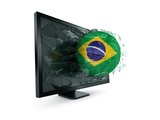 3D Rendering Of A Brazilian Soccerball Breaking Through Monitor Prints by  zentilia