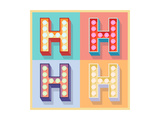 Simple And Clear Flat Lamp Alphabet - Letter H Prints by  dgbomb