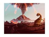 Dinosaur Extinction - Erupting Volcano Artwork Posters par  anatomyofrockthe