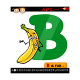 Letter B With Banana Cartoon Illustration Prints by Igor Zakowski