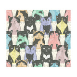 Seamless Pattern With Cute Cats For Children Premium Giclee Print by cherry blossom girl