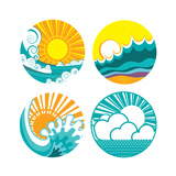 Sun And Sea Waves Icons Of Illustration Of Seascape For Design Prints by  GeraKTV