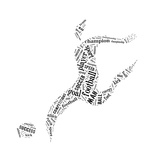 Football Player Pictogram With Black Color Words On White Background Kunst av  seiksoon