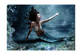 Mythology Being, Mermaid In Underwater Scene, Photo Compilation Affiches par  coka