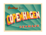 Vintage Touristic Greeting Card - Copenhagen, Denmark Prints by Real Callahan