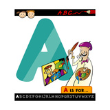 Letter A With Artist Cartoon Illustration Posters by Igor Zakowski