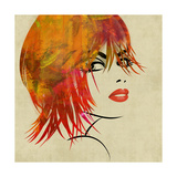 Art Colorful Sketching Beautiful Girl Face On Sepia Background Prints by Irina QQQ