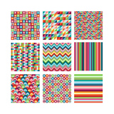 Collection Of Nine Bright Geometrics Posters by Pink Pueblo